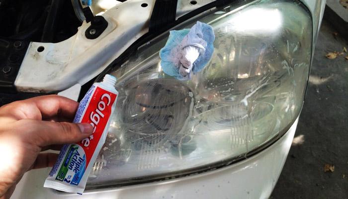полировка фар зубной пастой